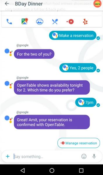 Google Assistant using Opentable