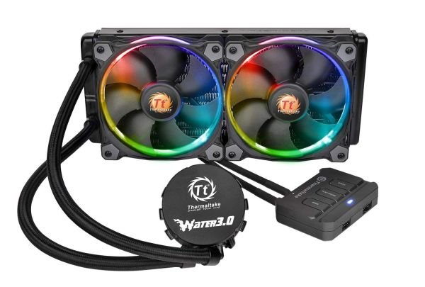 Thermaltake WATER 3.0 Dual Riing RGB High Static Pressure Fans 240 AIO Water Cooling System CPU Cooler CL-W107-PL12SW-A best liquid CPU cooler