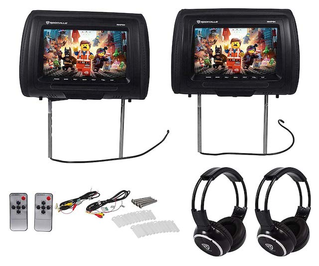 Rockville RHP91-BK 9 Digital Panel Black Headrest Monitors and Wireless Headphones